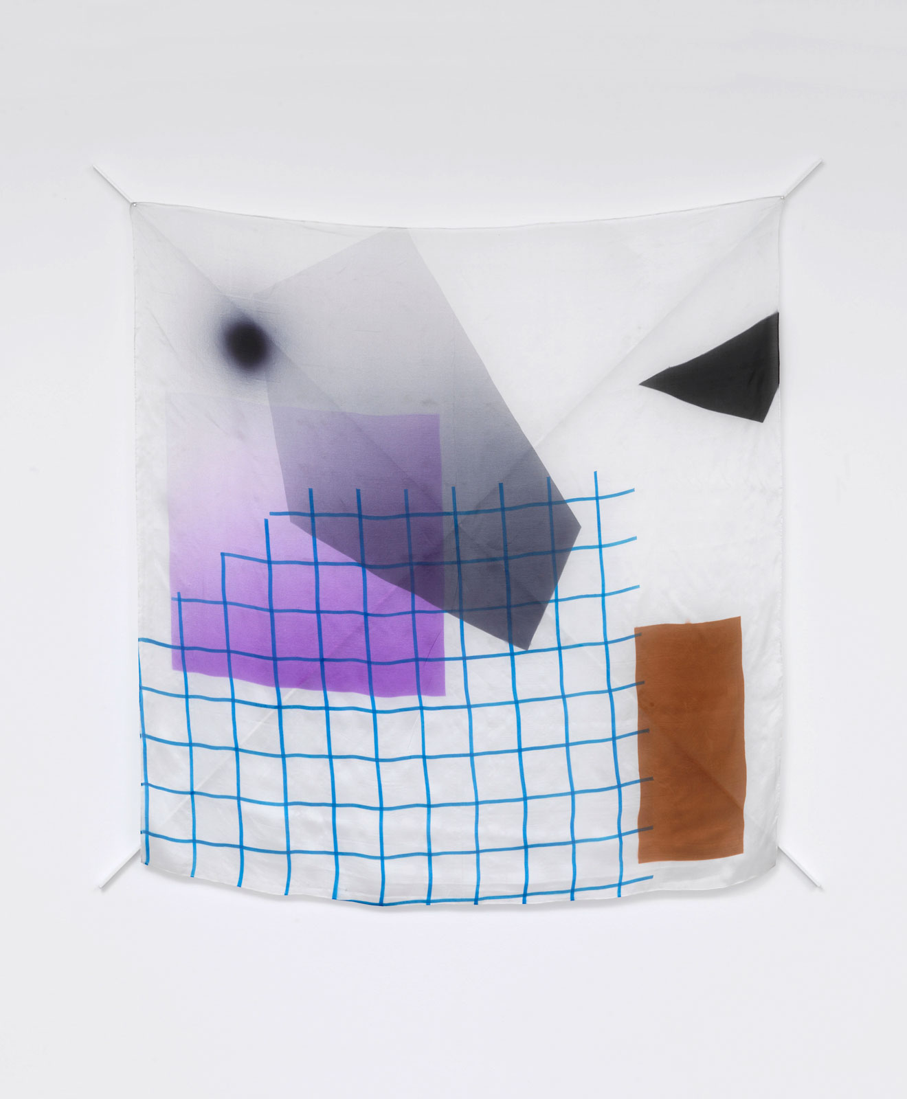 Untitled, 2010<br/>silk, silk paint, steel, lacquer<br/>121 x 121 cm