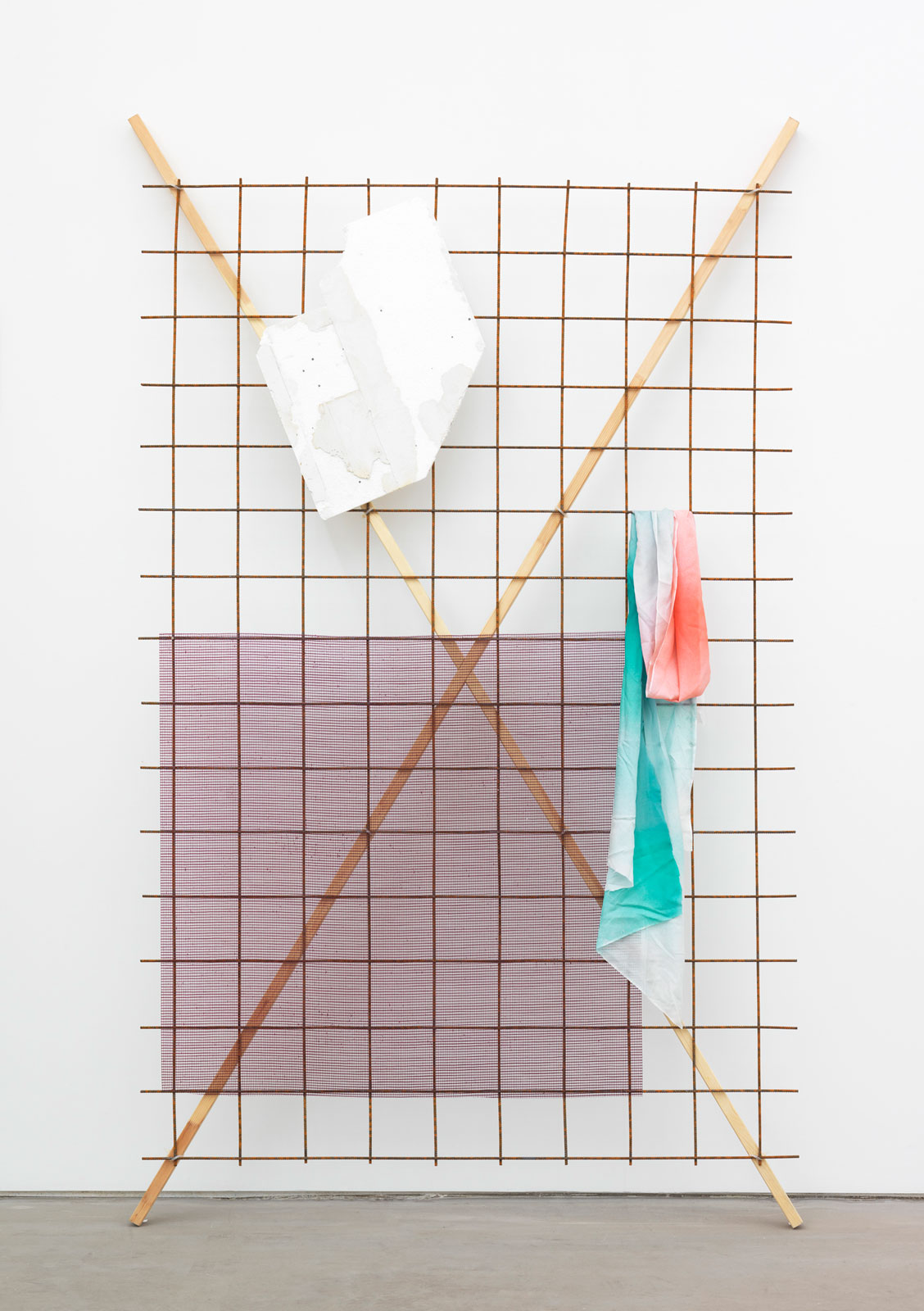 Grid (Fade), 2014<br/>reinforcement mesh, wood, mixed media<br/>260 x 155 x 30 cm