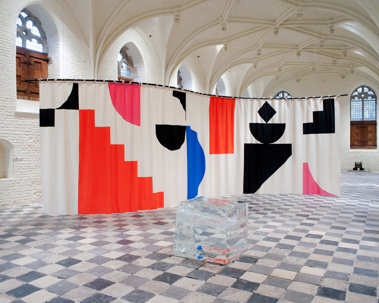 The Middelburg Curtain, 2011<br/>installation view at De Vleeshal, Middelburg (NL), 2011<br/>with work by Guillaume Leblon