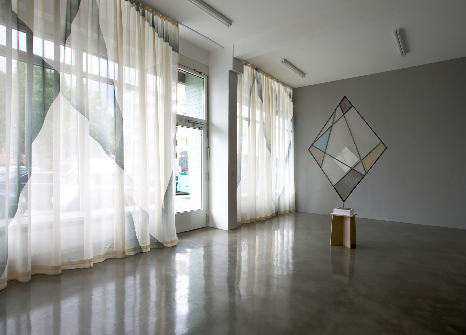 Untitled (Emerald Curtain), 2006<br/>Muslin, silk paint<br/>H 380, W 370 and 311cm