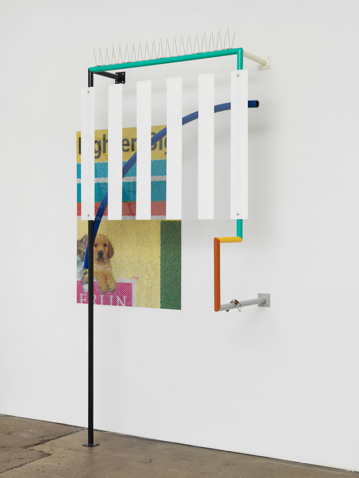 Untitled (Assemblage 4), 2015<br/>steel, paint, poster, plastic, key<br/>254 x 148 x 61.5 cm