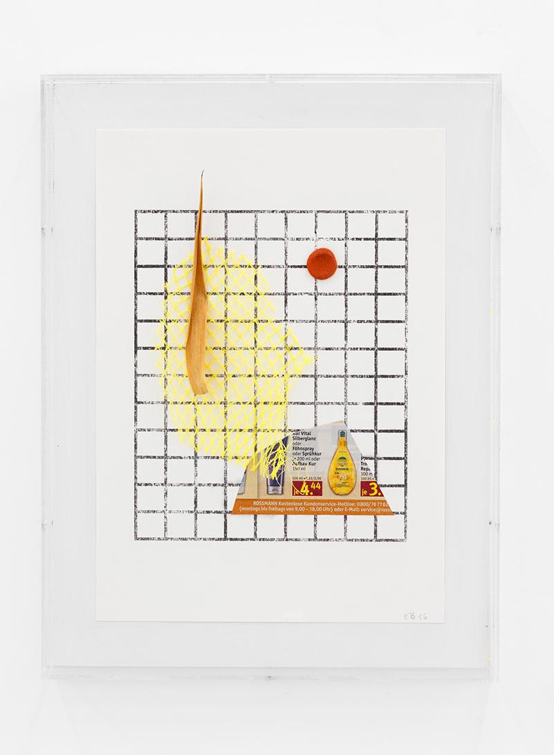 Collage (yucca), 2016<br/>transfer print on paper, mixed media (lemon net, yucca leaf, printed paper, plasticine)<br/>27 x 35,7 cm
