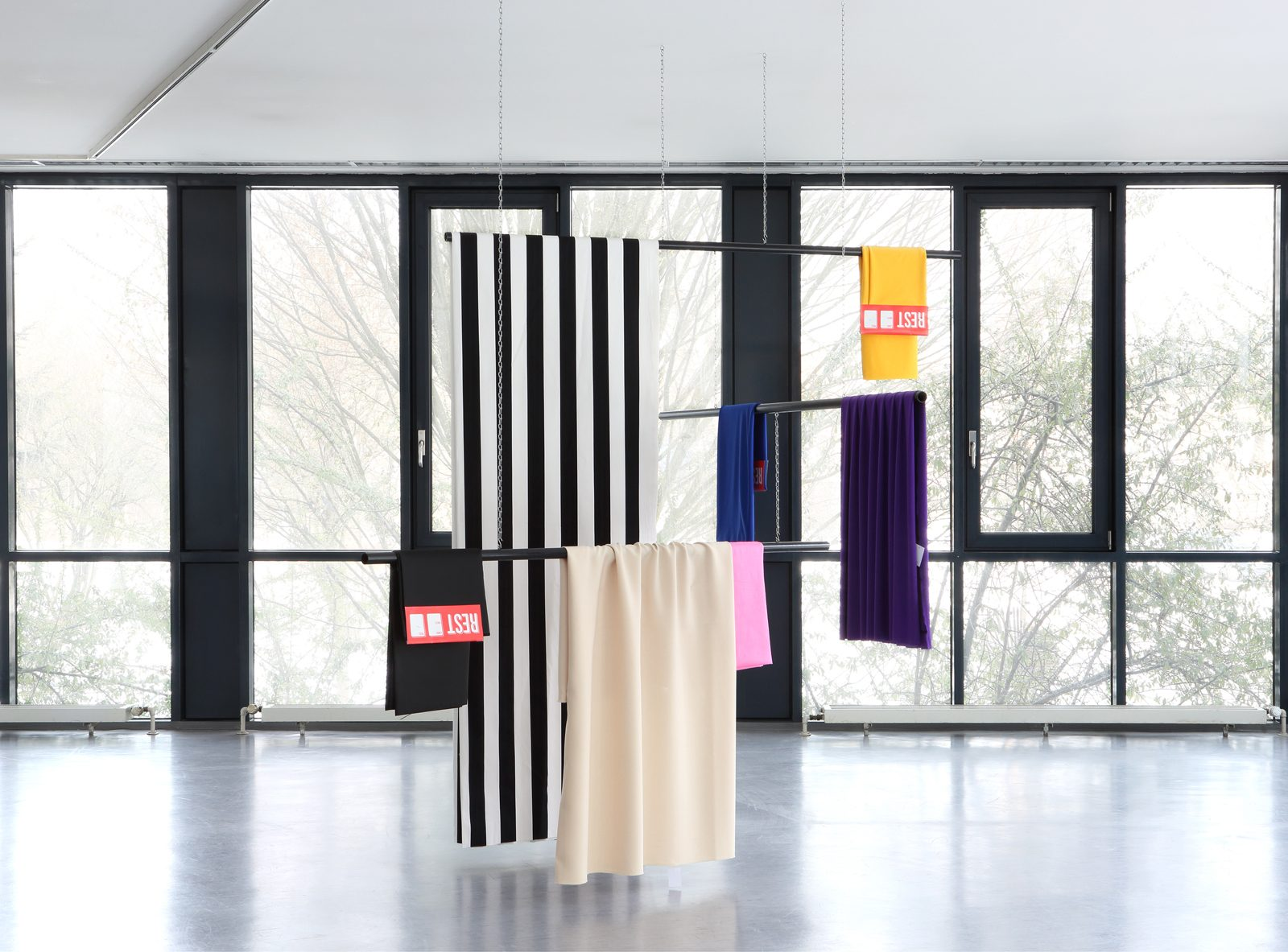 Untitled (hanging), 2017<br/>steel, lacquer, textiles, 215 x 200 x 300 cm